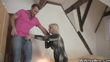Mature blonde seduces her son in law