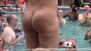 wild milfs stripping down naked in pool hot body strip contest