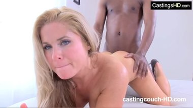 Busty blonde MILF first time interracial at rap video casting