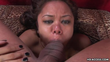 Super slutty Annie sucking and deep throating the dick