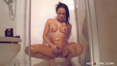 MILF Caught Squirting in the Shower