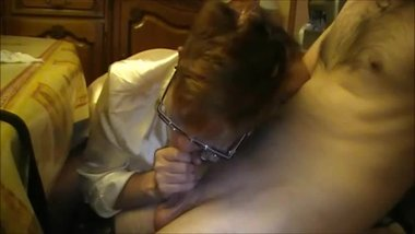 Horny Amateur MILF with glasses CFNM blowjob