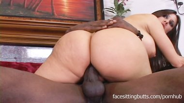 Big-tit MILF bends over for her black stepson