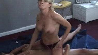 Hot Blonde MILF with cuckold hubby watching