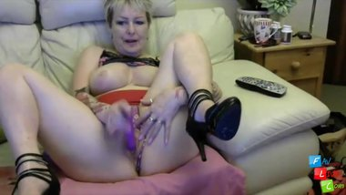 British horny 57 year old mommy masturbates
