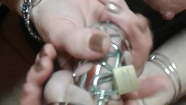 AprilShowers17 teasing my cock all caged up! Total torture!!!!