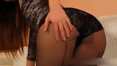 Hot long legs brunette MILF in too short minidress upskirt panty flashing !