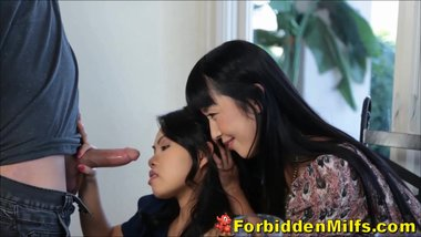 Asian Mom Supervises Teen Daughter Sucking Off New Lodger