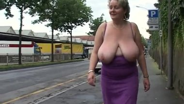 Busty german milf flashing big tits in public