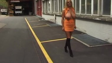 busty german blonde flashing big tits in public