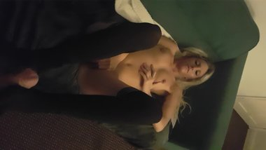 Blonde does a foot wank and bj in stockings