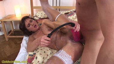 crazy MIlf pumped and deep anal fucked