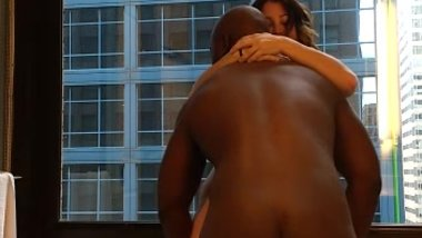 Horny MILF fucks her younger black lover in hotel