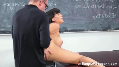 Horny Latina Tutor Spreads Her Wet Cunt & Fucks Class Nerd
