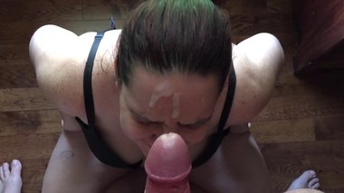 Wife POV Blowjob on Thick Uncut Cock Gets Messy Facial HD Slurping