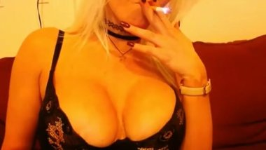 Bleach Blonde Hottie MILF with Big Fake Tits is a Sexy Smoker