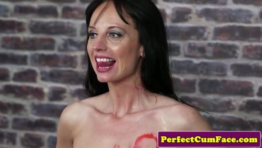 Mature cocksucker facialized by four men
