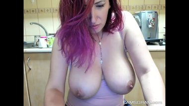 Big Tits Redhead Milf Masturbates For Web Viewers